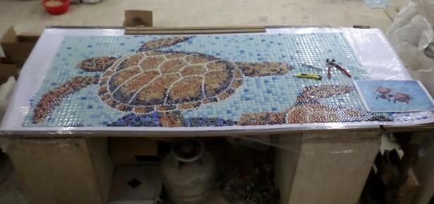 Kaplumbağa Kırımlı Sanatsal Cam Mozaik